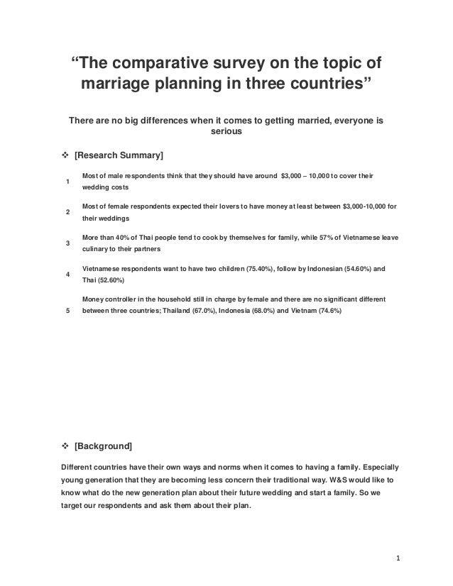 """1 """"The comparative survey on the topic of marriage planning in three countries"""" There are no big differences when it comes..."""