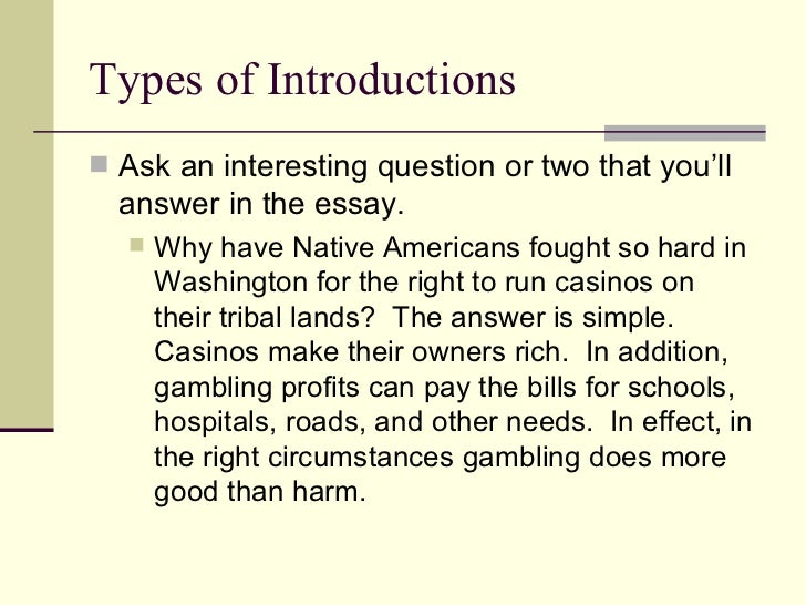 The effects of gambling essay