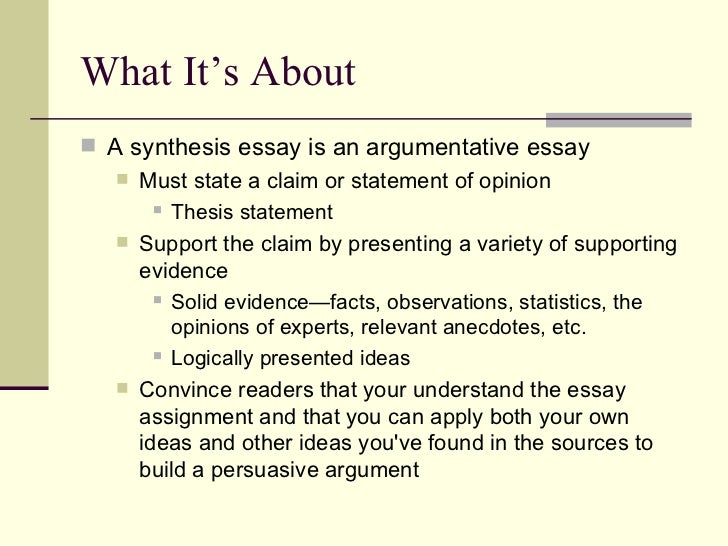 Synthesis Essay Writing Help