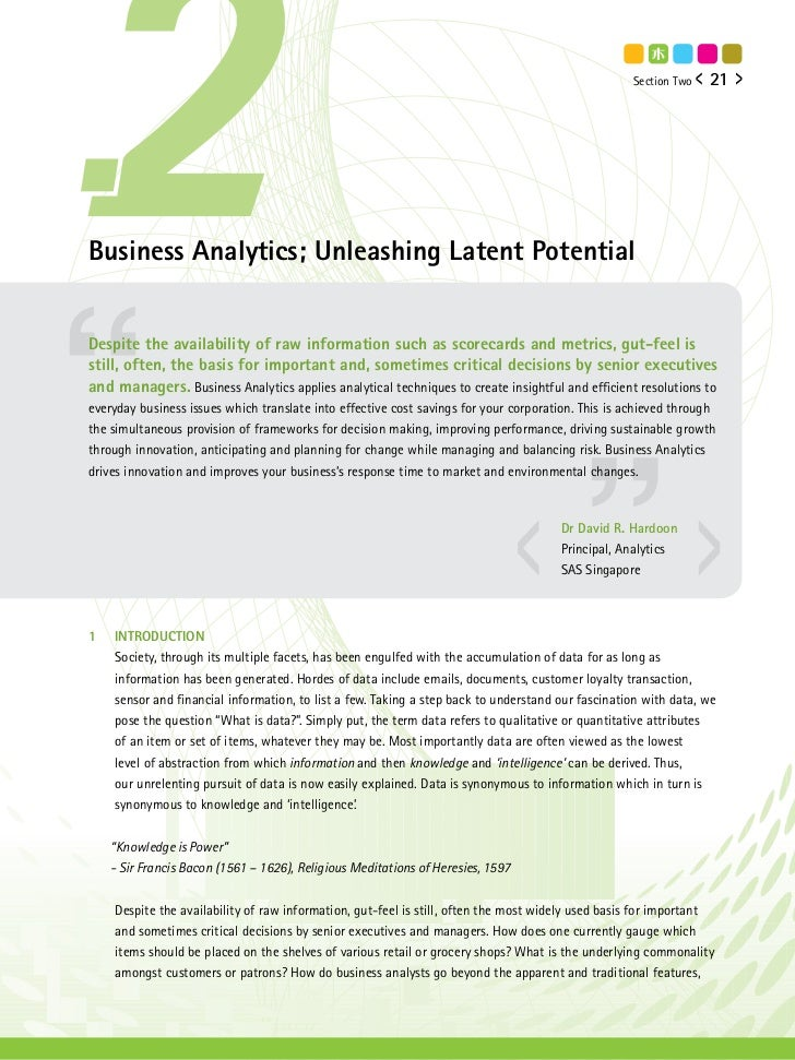 Section Two   21Business Analytics; Unleashing Latent PotentialDespite the availability of raw information such as scoreca...