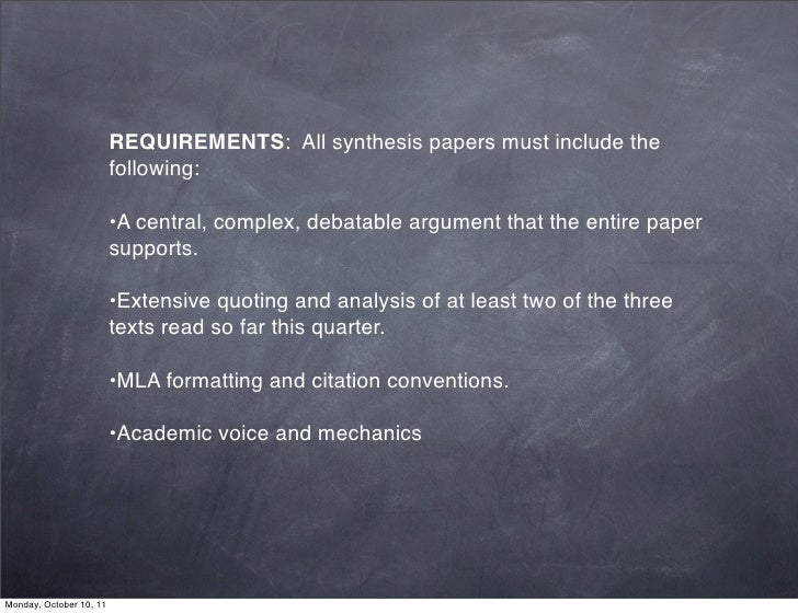 Synthesis paper mla format