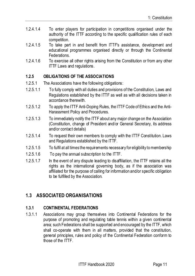 1: Constitution ITTF Handbook 2020 Page 11 1.2.4.1.4 To enter players for participation in competitions organised under th...