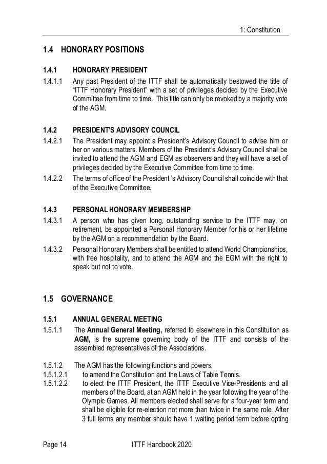 1: Constitution Page 14 ITTF Handbook 2020 1.4 HONORARY POSITIONS 1.4.1 HONORARY PRESIDENT 1.4.1.1 Any past President of t...