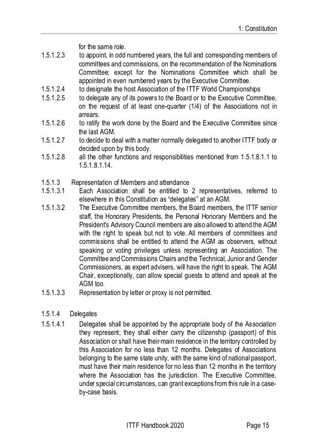 1: Constitution ITTF Handbook 2020 Page 15 for the same role. 1.5.1.2.3 to appoint, in odd numbered years, the full and co...
