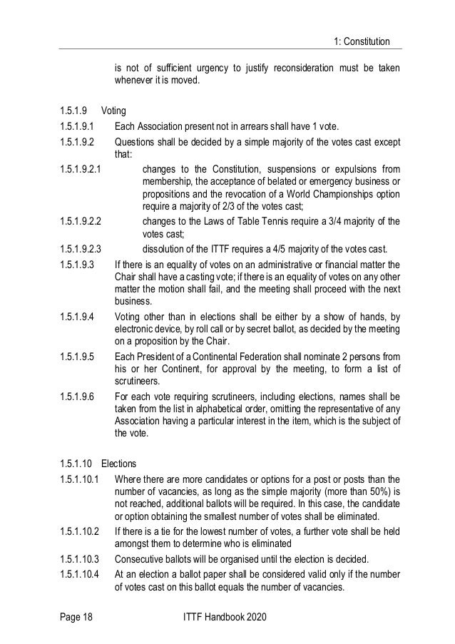 1: Constitution Page 18 ITTF Handbook 2020 is not of sufficient urgency to justify reconsideration must be taken whenever ...