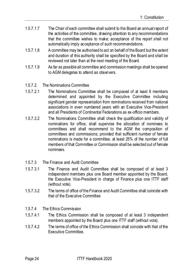 1: Constitution Page 24 ITTF Handbook 2020 1.5.7.1.7 The Chair of each committee shall submit to the Board an annual repor...
