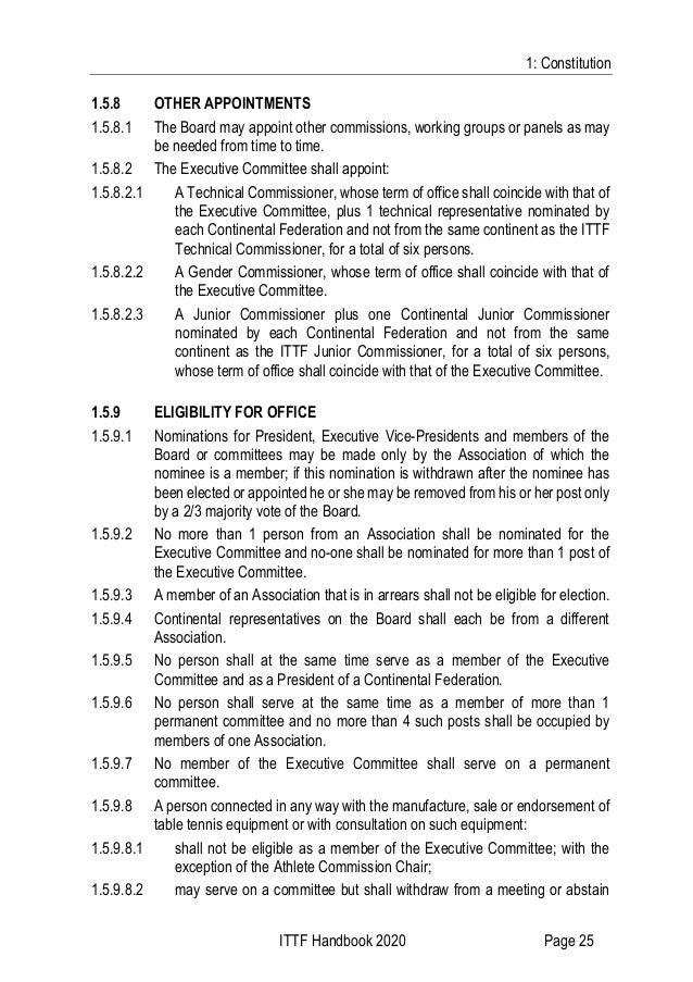 1: Constitution ITTF Handbook 2020 Page 25 1.5.8 OTHER APPOINTMENTS 1.5.8.1 The Board may appoint other commissions, worki...