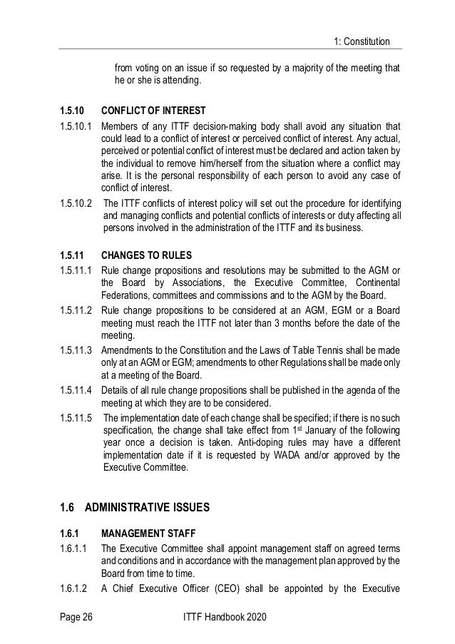 1: Constitution Page 26 ITTF Handbook 2020 from voting on an issue if so requested by a majority of the meeting that he or...