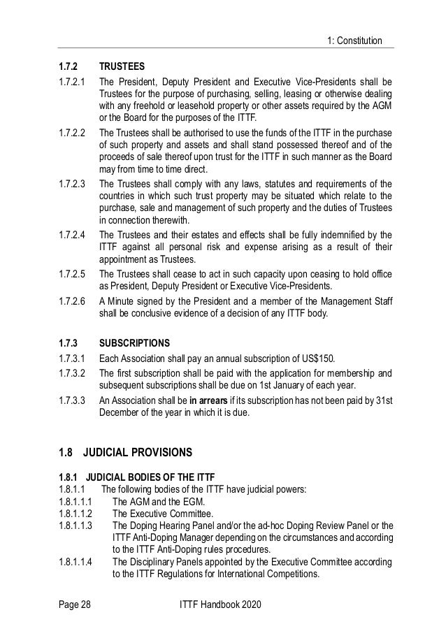 1: Constitution Page 28 ITTF Handbook 2020 1.7.2 TRUSTEES 1.7.2.1 The President, Deputy President and Executive Vice-Presi...