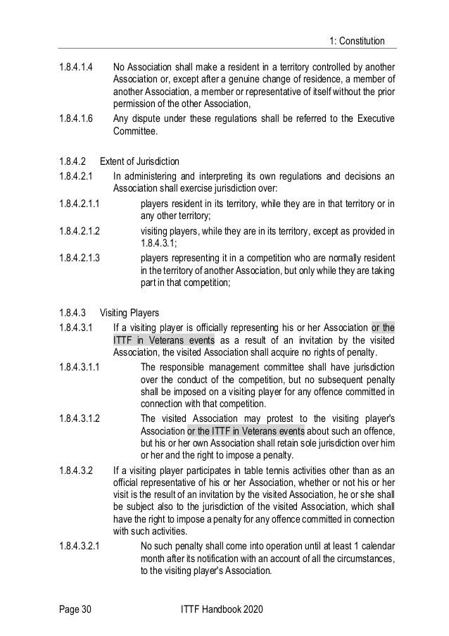 1: Constitution Page 30 ITTF Handbook 2020 1.8.4.1.4 No Association shall make a resident in a territory controlled by ano...