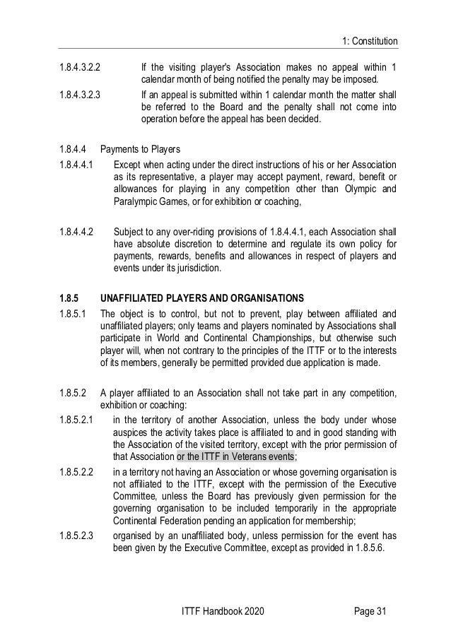 1: Constitution ITTF Handbook 2020 Page 31 1.8.4.3.2.2 If the visiting player's Association makes no appeal within 1 calen...