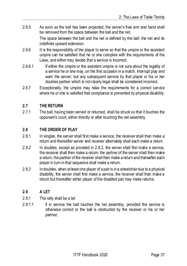 2: The Laws of Table Tennis ITTF Handbook 2020 Page 37 2.6.5 As soon as the ball has been projected, the server's free arm...