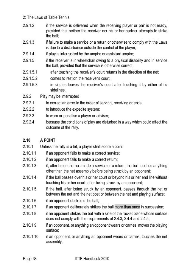 2: The Laws of Table Tennis Page 38 ITTF Handbook 2020 2.9.1.2 if the service is delivered when the receiving player or pa...