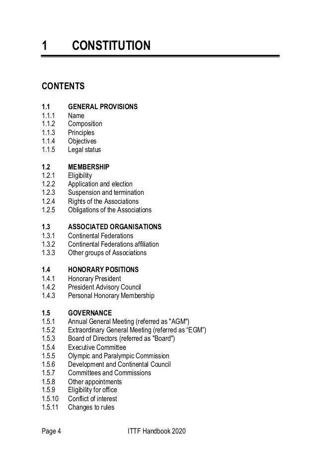 Page 4 ITTF Handbook 2020 1 CONSTITUTION CONTENTS 1.1 GENERAL PROVISIONS 1.1.1 Name 1.1.2 Composition 1.1.3 Principles 1.1...
