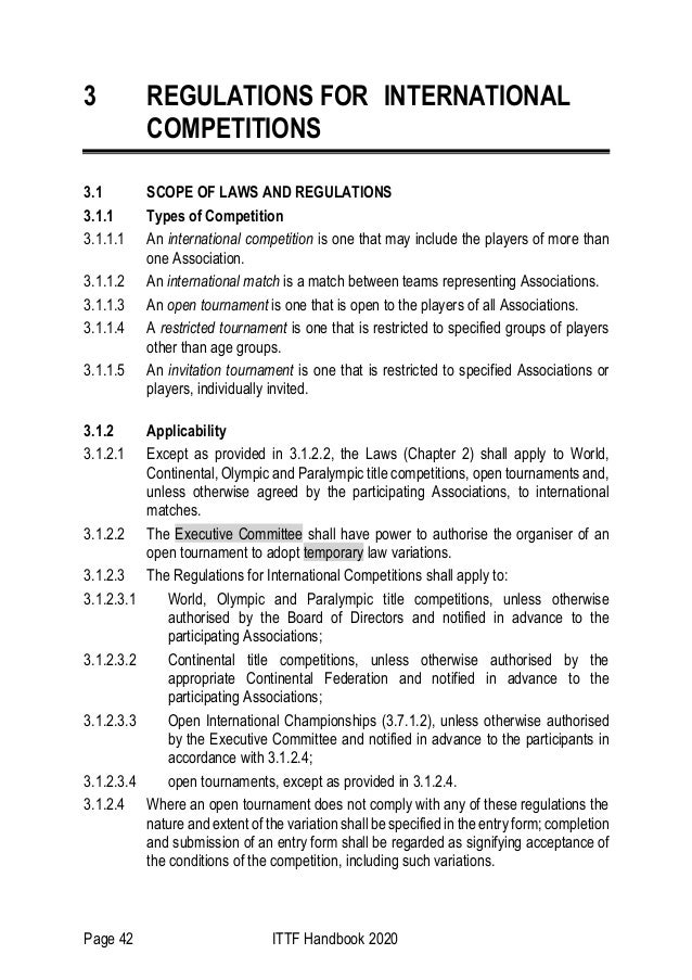 Page 42 ITTF Handbook 2020 3 REGULATIONS FOR INTERNATIONAL COMPETITIONS 3.1 SCOPE OF LAWS AND REGULATIONS 3.1.1 Types of C...