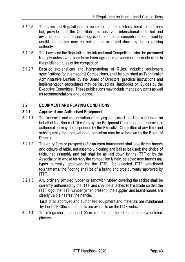 3: Regulations for International Competitions ITTF Handbook 2020 Page 43 3.1.2.5 The Laws and Regulations are recommended ...