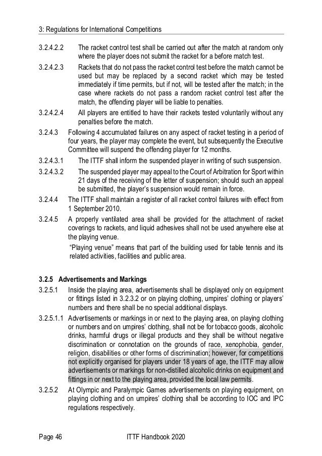 3: Regulations for International Competitions Page 46 ITTF Handbook 2020 3.2.4.2.2 The racket control test shall be carrie...