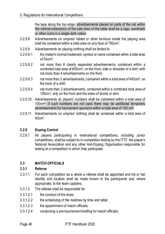 3: Regulations for International Competitions Page 48 ITTF Handbook 2020 the tape along the top edge; advertisements place...