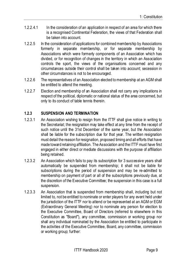 1: Constitution ITTF Handbook 2020 Page 9 1.2.2.4.1 In the consideration of an application in respect of an area for which...