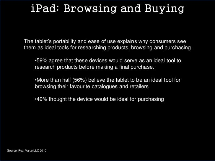 iPad: Browsing and Buying           The tablet's portability and ease of use explains why consumers see           them as ...