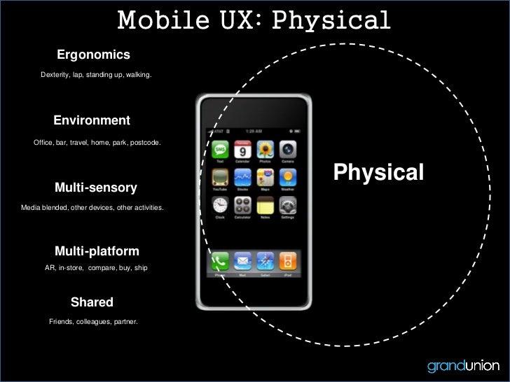Mobile UX: Physical           Ergonomics      Dexterity, lap, standing up, walking.          Environment    Office, bar, t...