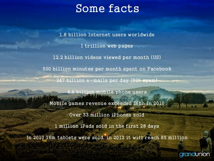 Some facts            1.8 billion Internet users worldwide                     I trillion web pages          12.2 billion ...