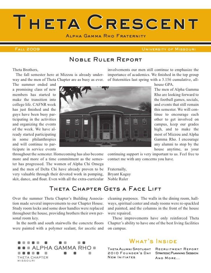 Theta Crescent                   Alpha Gamma Rho Fraternity   Fall 2009                                                   ...
