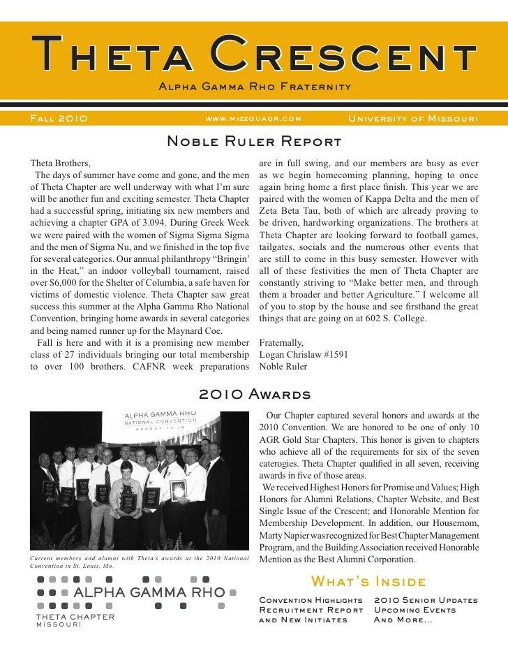 Theta Crescent                         Alpha Gamma Rho FraternityFall 2010                                            www....