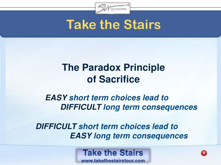 Take the Stairs<br />The Purchase Price of Procrastination<br />If a company invested that$10,396 at 12%<br />For 30 year...
