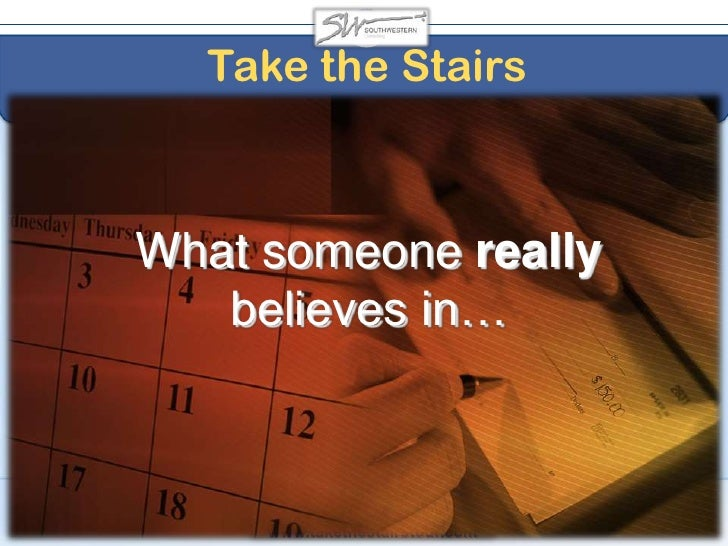 A Take the Stairs Leader<br />Gains commitment by holding people ACCOUNTABLE without holding them HOSTAGE<br />