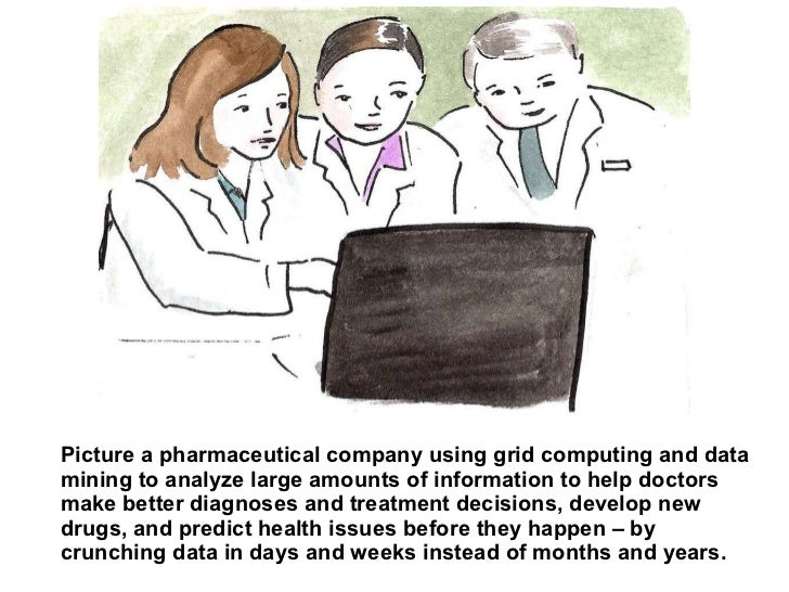 Picture a pharmaceutical company using grid computing and data mining to analyze large amounts of information to help doct...