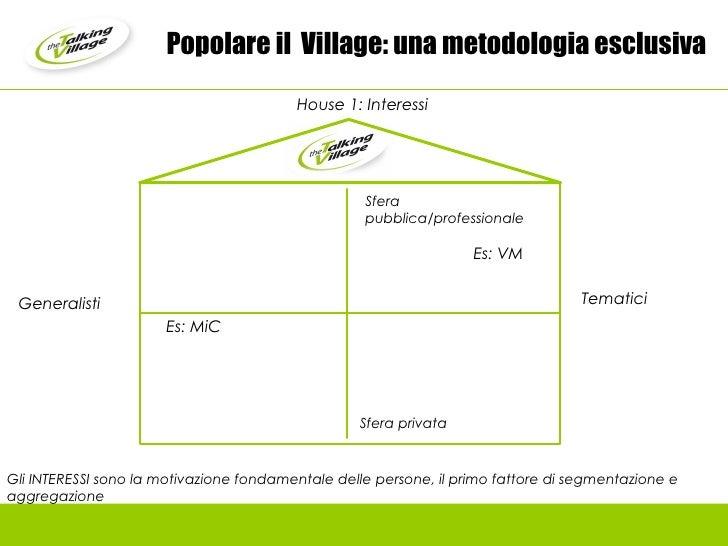 Popolare il  Village: una metodologia esclusiva Generalisti Gli INTERESSI sono la motivazione fondamentale delle persone, ...