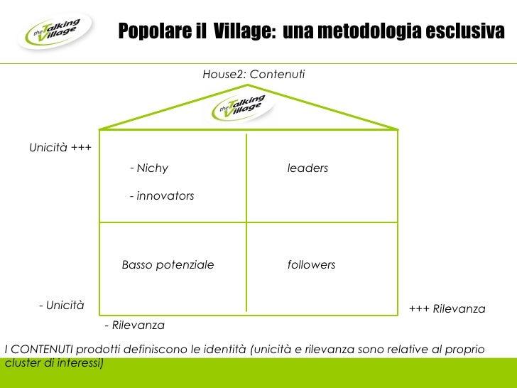 Popolare il  Village:  una metodologia esclusiva Unicità +++ +++ Rilevanza I CONTENUTI prodotti definiscono le identità (u...