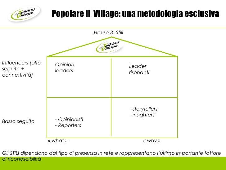 Popolare il  Village: una metodologia esclusiva Influencers (alto seguito + connettività) <ul><li>storytellers </li></ul><...