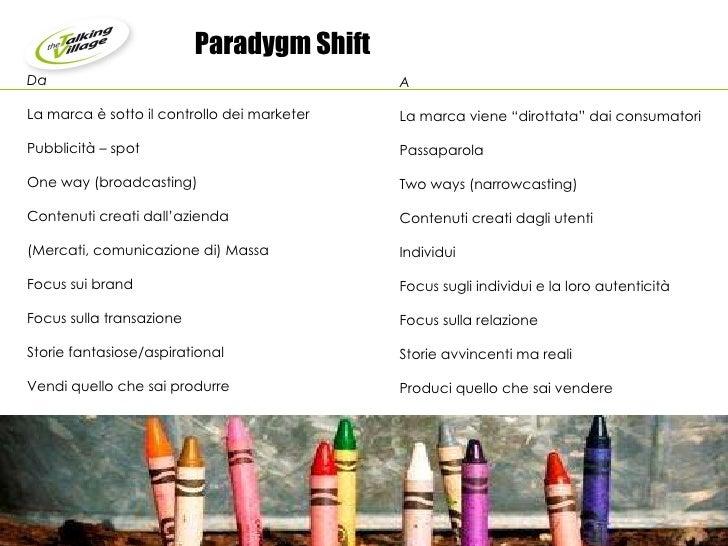 """Paradygm Shift  A La marca viene """"dirottata"""" dai consumatori Passaparola Two ways (narrowcasting)  Contenuti creati dagli ..."""