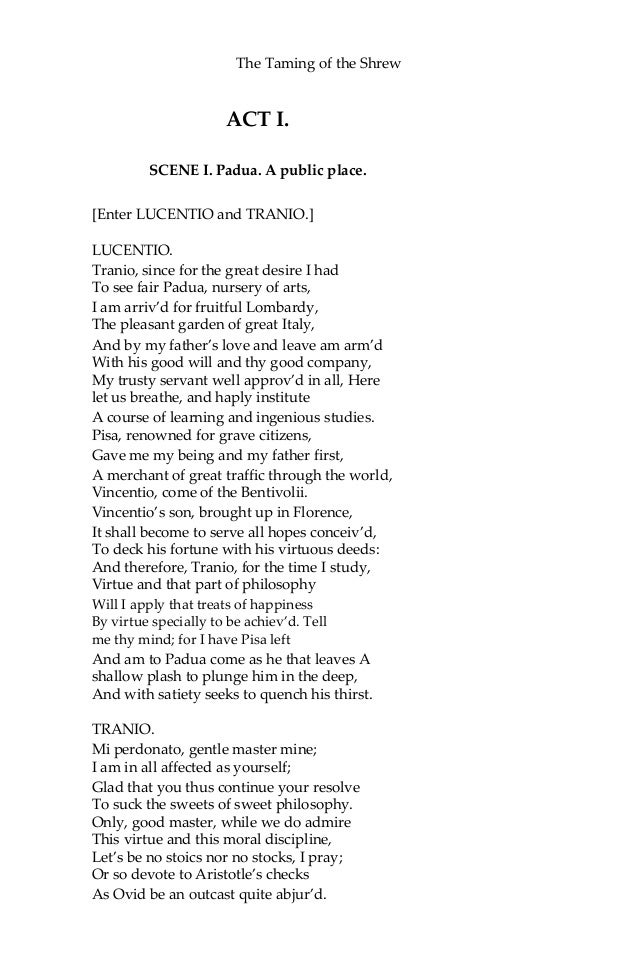 the taming of the shrew by william shakespeare essay The taming of the shrew by: william shakespeare  suggested essay topics  but the taming of the shrew is unique in that the play within a play is the main.