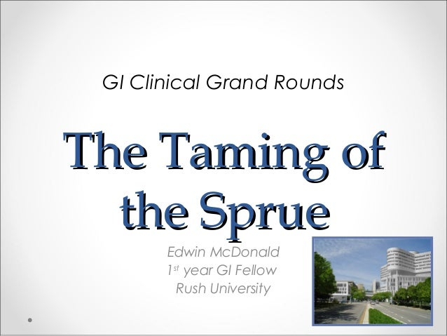 The Taming ofThe Taming of the Spruethe Sprue Edwin McDonald 1st year GI Fellow Rush University GI Clinical Grand Rounds