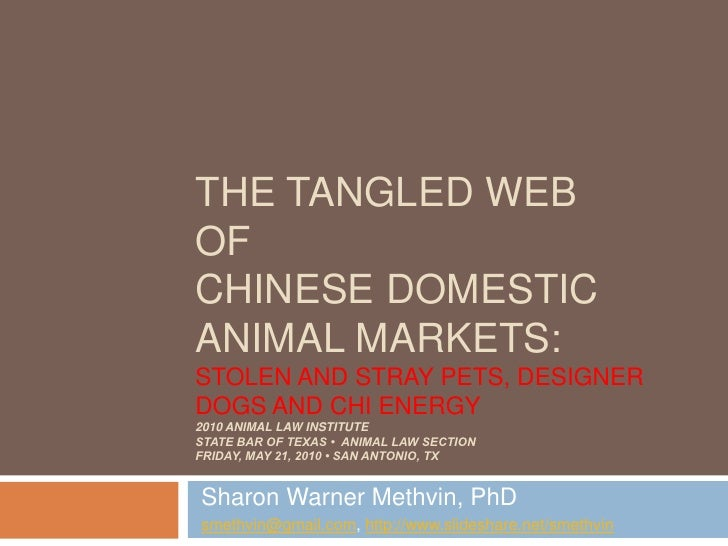The Tangled Webof Chinese Domestic Animal Markets:Stolen and Stray Pets, Designer Dogs and Chi Energy2010 Animal Law Insti...