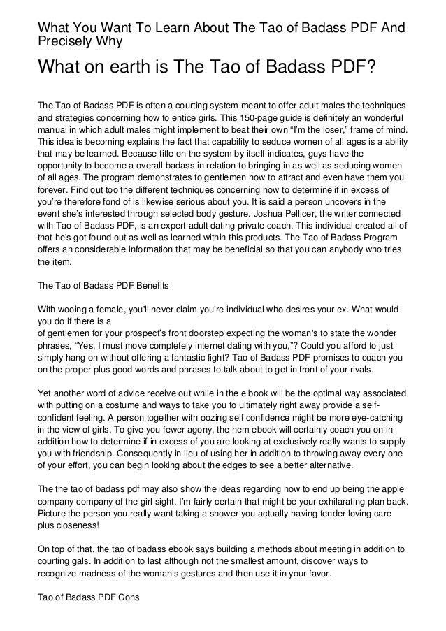 The Tao Of Badass Full Ebook