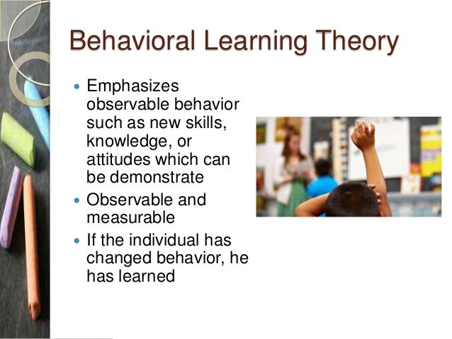 introduction to learning theory and behavioral Learning involves a change in behavior or knowledge that results from   psychologist and learning theorist who first proposed social learning theory and  can be.