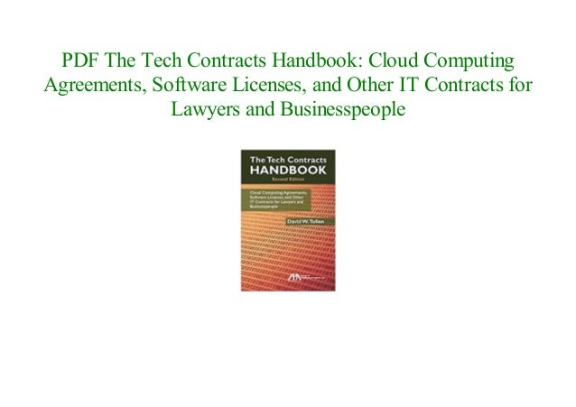 The Tech Contracts Handbook Cloud Computing Agreements Software Lic