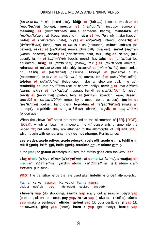 TURKISH TENSES, MODALS and LINKING VERBS in TURKISH and ENGLISH ARE D…