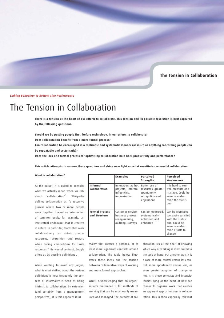 The Tension in Collaboration    Linking Behaviour to Bottom Line Performance    The Tension in Collaboration              ...