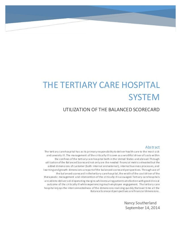 the balanced scorecard of the nursing home Balanced scorecard is about strategy execution, so you will need to analyze your business challenges, come up with a good strategy, describe it on the strategy map, and add some tracking in the form of the metrics.