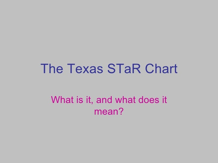 The Texas STaR Chart What is it, and what does it mean?