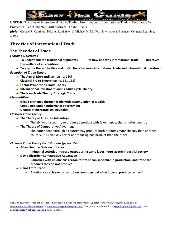 UNIT-II: Theories of International Trade, Trading Environment of International Trade - Free Trade Vs Protection- Tariff an...