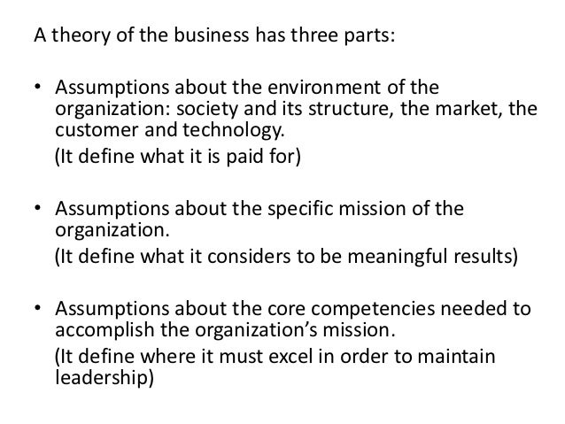 the theory of the business This model is an application of a model described by peter drucker as the theory of the business the central tenet of this theory is that many businesses decline and fail because the assumptions they make that form the basis for their fundamental business decisions (about society, markets, customers, products,.