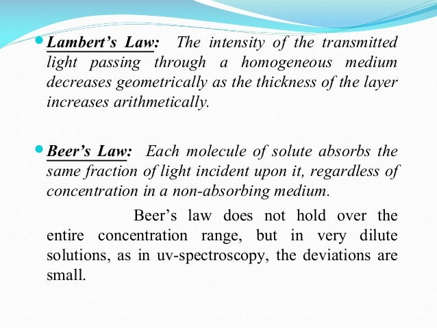 absorption spectroscopy and beer s law Chem 125 - experiment ii solution color experiment ii - solution color, absorbance, and beer's law goals of experiment ii why are some solutions colored while others are colorless is there a pattern of color based on characteristics of the compound itself.
