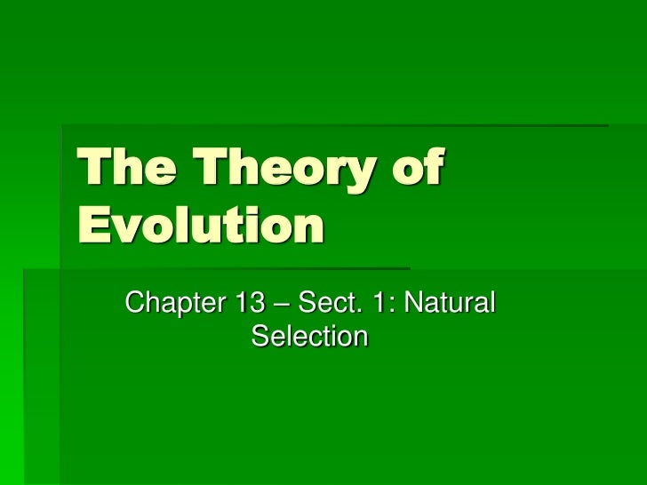 The Theory ofEvolution Chapter 13 – Sect. 1: Natural          Selection