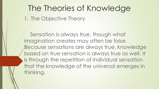 theories of knowledge Epistemology basic is a branch of philosophy that investigates the origin, nature, methods, and limits of human knowledge such beliefs influence the development of knowledge because they are considered to be the central values or theories that are functionally connected to most other beliefs and knowledge (hofer & pintrich, 1997).